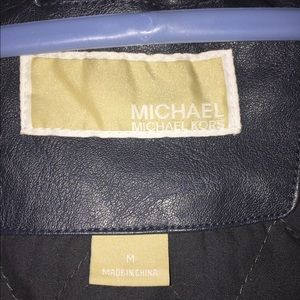 Michael Kors Jackets & Coats - Michael Kors Blue Faux Leather Jacket
